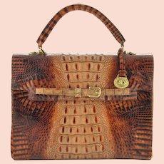 Vintage Brahmin Purse / Handbag - Melbourne Embossed Crocodile in Toasted Almond
