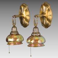Pair Antique Sheffield Style Brass Wall Sconces - Steuben Art Glass Aurene Shades