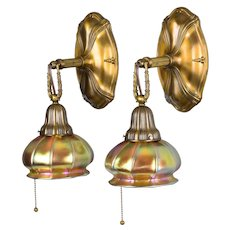 Pair Antique Sheffield Style Brass Wall Sconces - Steuben Art Glass Aurene Shades