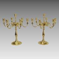 Pair Vintage 7 Light Baldwin Brass Candelabra