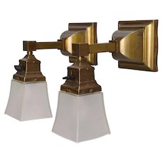 Pair Antique Brass Mission Wall Sconces - Original Shades