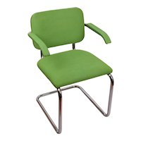 Knoll International Gavina Green Tubular Arm Chair Italy 1974 MCM