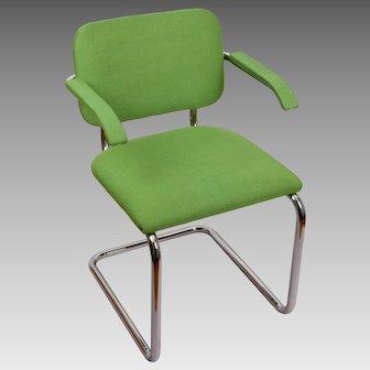 Knoll International Gavina Green Tubular Arm Chair Italy 1974 MCM