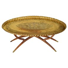 Massive Mid Century Brass & Teak Wood Tray Table