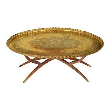 Massive Mid Century Brass & Teak Wood Tray Table