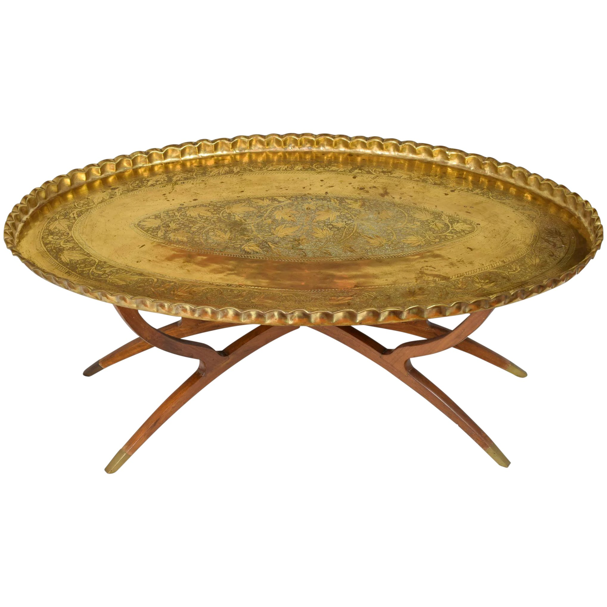 Picture of: Massive Mid Century Brass Teak Wood Tray Table The Old Light Warehouse Ruby Lane