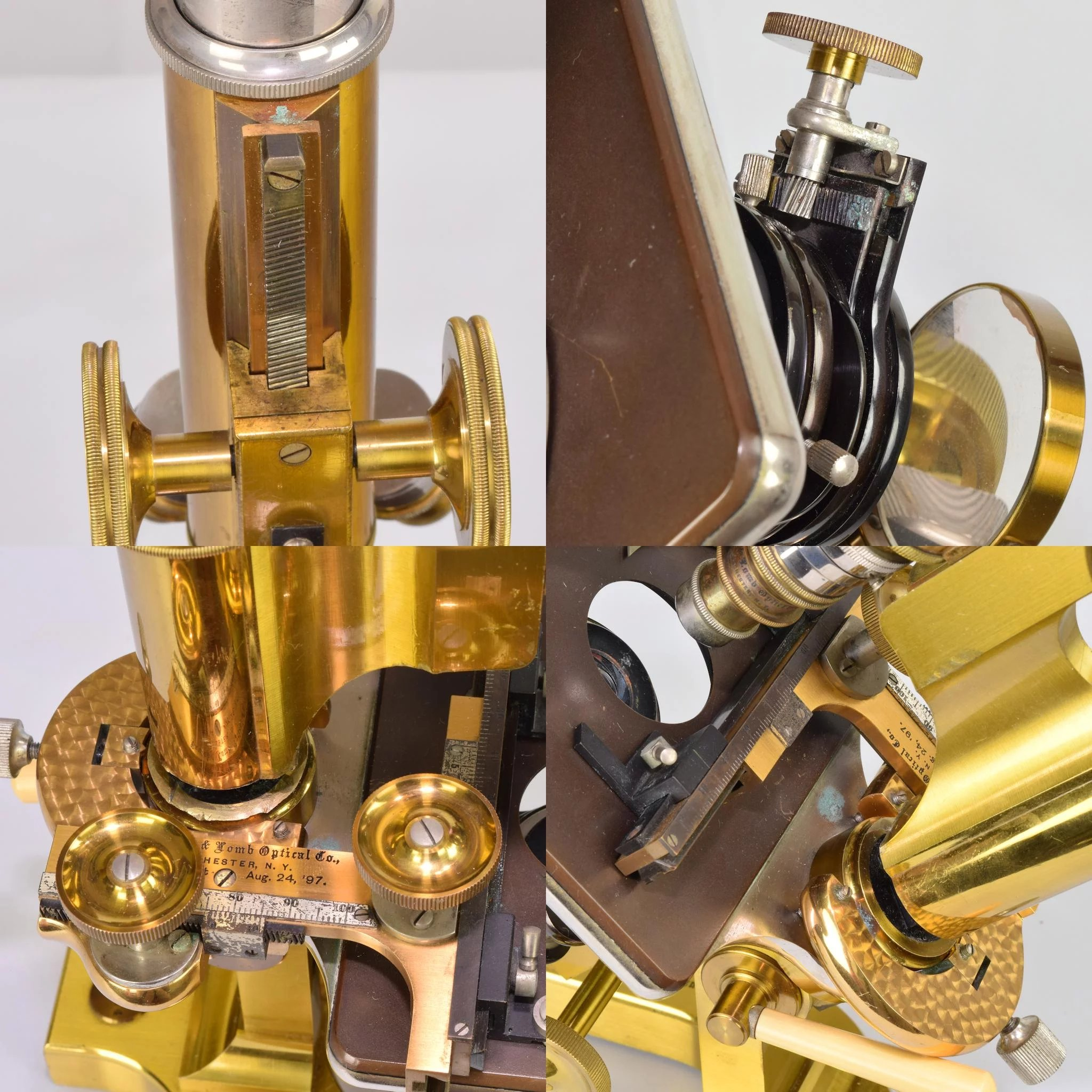 Antique Bausch and Lomb Brass Microscope with Wood Case c