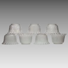 "Set 7 Antique Etched Glass Ruffled Gas Light Fixture Shades - 4"" Fitters"