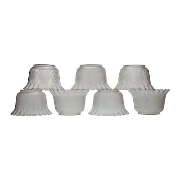 """Set 7 Antique Etched Glass Ruffled Gas Light Fixture Shades - 4"""" Fitters"""