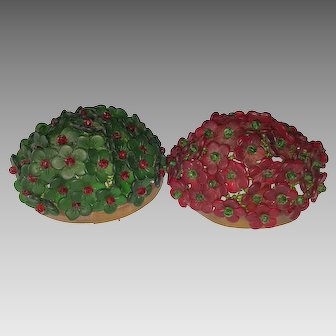 Pair Czechoslovakian Glass Flower Beaded Lamp Shades - Vintage Green & Red