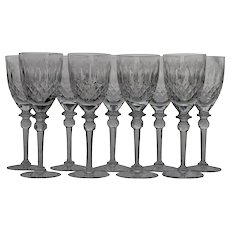 Set 10 Rogaska White Wine Goblets / Glasses