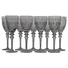 Set 10 Rogaska White Wine Goblets / Glasses