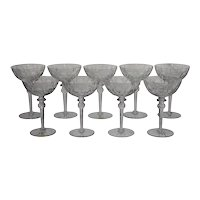 9 Vintage Rogaska Crystal Champagne or Sherbet Glasses - Cut & Etched