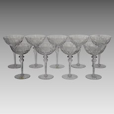 9 Vintage Rogaska Crystal Champagne or Sherbet Glasses - Cut & Etched