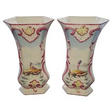 Antique French Faience Pottery Vases - Veuve Perrin, 18th Century