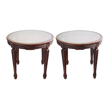 Pair Large Henredon Carved Mahogany Side Tables Cane/Glass