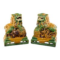 Vintage Chinese Majolica Garden Foo Dogs
