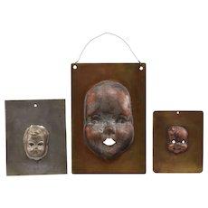 3 Vintage Metal Doll Head Molds / Stencils