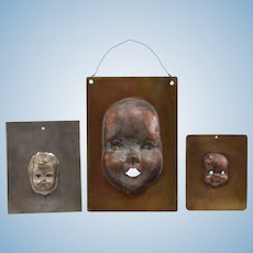 3 Vintage Metal Doll Head Molds / Stencils