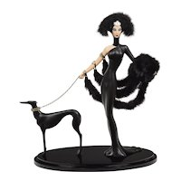 Vintage Erte Symphony In Black Statue - Lady & Dog