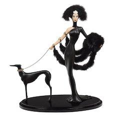 Vintage Erte Symphony In Black Statue - Lady & Dog