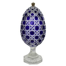 Massive Signed Imperial Faberge Russian Cut Crystal Bonbonniere Egg