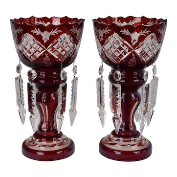 Pair Ruby Flashed Cut to Clear Glass Mantle Lusters