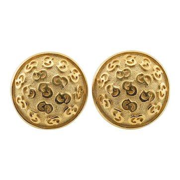 Pair Vintage 1980s Christian Dior CD Monogram Clip On Gold Tone Earrings
