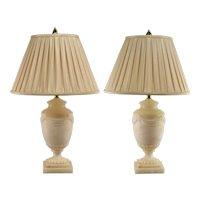 Vintage Pair Ethan Allen Carved Alabaster Table Lamps