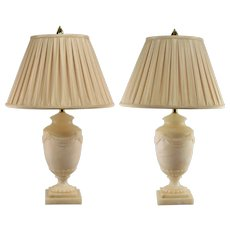 Vintage Pair Ethan Allen Carved Albaster Table Lamps