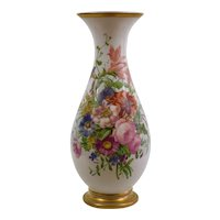 Large Antique Baccarat Opaline Vase - Enamelled by Jean Francoise Robert - 17.5""