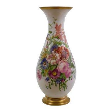 "Large Antique Baccarat Opaline Vase - Enamelled by Jean Francoise Robert - 17.5"""