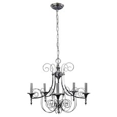 Orante Scrolled Chrome 5 Light Gaetano Sciolari Chandelier