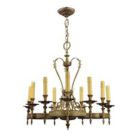 Vintage Ornate Brass 9 Light Chandelier