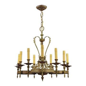 Vintage Ornate Brass 9 Light Chandelier