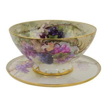 Antique HP Limoges Punch Bowl and Underplate Grapes/Vines - 1900 - Signed