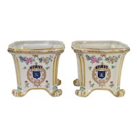 Pair Vintage Enameled Porcelain de Paris Cache Pots - Flowers and Shields