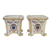 Pair Vintage Enameled Porcelain de Paris Cache Pots - Flowers and Shields