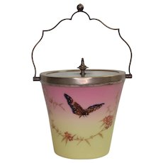 Antique Enameled Thomas Webb Burmese Glass Biscuit Jar - Silver Mounts