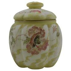 Antique Unusual Mt Washington Albertine Glass Biscuit Jar - Poppy