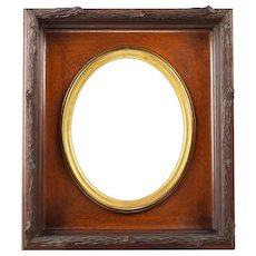 Antique Rustic Carved Wood Picture Art Frame Oval