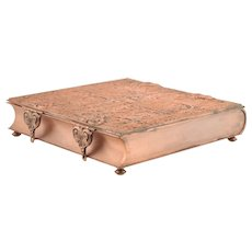 Antique Romanesque Style Copper Trinket or Letter Book Box