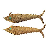 Pair of Sterling Silver Vermeil Chinese Export Fish Pomander Pendants