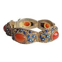 Vintage Enameled Chinese Export Sterling Silver Vermeil Carnelian Bracelet