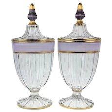 Pair Heisey #465 3-Lb Candy Jars - Scarce
