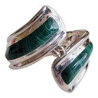 Sterling Silver & Malachite Clamper Bracelet