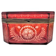 Antique Octagonal Ruby Flashed Etched to Clear Casket Box