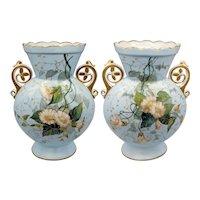 Pair Large Old Paris French Porcelain Vases - Morning Glories