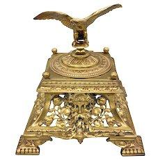Antique Bronze Napoleon III Inkwell Eagle Finial on Lid