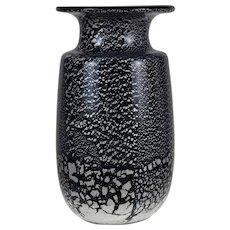 Vintage Art Glass Vase with Silver Flecks - designed by Larry Laslo